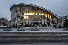 Fieirabend House, a concrete shell construction built as a venue by Karl Hell, 1957, in Chemiepark Knapsack, an industrial zone of Cologne, North Rhin... - 40086-430-1