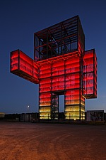 Lit up at night, the Indemann tower, a 36 metre high observation tower in the form of a robot, built 2009, North Rhine-Westphalia, Germany - 40086-280-1