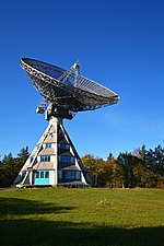 The Stockert Radio Telescope, a historical radio telescope, 1956,on a hill in Bad Munstereifel, North Rhine-Westphalia, Germany   - 40086-30-1