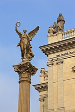 Angel with garland  statue on column by corner of the Rudolphinum by Josef Zitek and Josef Schulz, 1876-84, Prague, Czech Republic - 40090-170-1