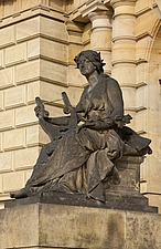 Statue of woman with lyre in front of the Rudlophinum by Josef Zitek and Josef Schulz, 1876-84, Prague, Czech Republic - 40090-180-1