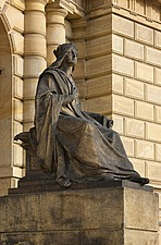 Statue of woman in front of the Rudolphinum by Josef Zitek and Josef Schulz, 1876-84, Prague, Czech Republic - 40090-190-1