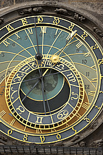 Close up of face of astronomical clock on St Nicklaus church, Prague, Czech Republic - 40090-20-1