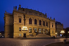 Night view of front facade of the Rudolphinum by Josef Zitek and Josef Schulz, 1876-84, Prague, Czech Republic - 40090-200-1