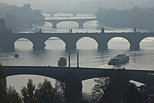 Bridges over the Vltava in the haze seen from the Letna plateau, Prague, Czech Republic - 40090-270-1