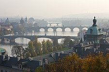 Bridges over the Vltava in the haze seen from the Letna plateau, Prague, Czech Republic - 40090-280-1