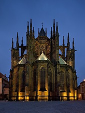 Night view of the east choir of St Vitus Cathedral, Prague, Czech Republic - 40090-70-1