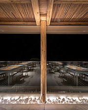 Wicker pergola detail of Rinela Restaurant at Mitsis Rinela Beach Resort & Spa in Crete island Greece by Elastic Architects - 16946-100