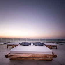 Infinity view from outdoor pool and custom-made furniture of Rinela Restaurant at Mitsis Rinela Beach Resort & Spa in Crete island Greece by Elastic A... - 16946-120