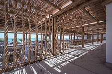 Interior view of entrance and dining hall, Rinela Restaurant at Mitsis Rinela Beach Resort & Spa in Crete island Greece by Elastic Architects - 16946-130