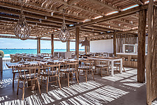 Interior view of dining hall, Rinela Restaurant at Mitsis Rinela Beach Resort & Spa in Crete island Greece by Elastic Architects - 16946-140