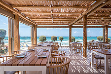 Interior view of dining hall and custom-made furniture, Rinela Restaurant at Mitsis Rinela Beach Resort & Spa in Crete island Greece by Elastic Archit... - 16946-150