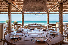 Interior view of dining hall and custom-made furniture, Rinela Restaurant at Mitsis Rinela Beach Resort & Spa in Crete island Greece by Elastic Archit... - 16946-170