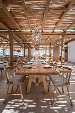 Interior view of dining hall and custom-made furniture, Rinela Restaurant at Mitsis Rinela Beach Resort & Spa in Crete island Greece by Elastic Archit... - 16946-210
