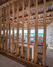 Detail of wicker pergola, Rinela Restaurant at Mitsis Rinela Beach Resort & Spa in Crete island Greece by Elastic Architects - 16946-230