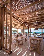 Interior view of entrance and dining hall, Rinela Restaurant at Mitsis Rinela Beach Resort & Spa in Crete island Greece by Elastic Architects - 16946-240