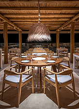 Dining hall and custom-made furniture of Rinela Restaurant at Mitsis Rinela Beach Resort & Spa in Crete island Greece by Elastic Architects - 16946-90