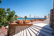 Terrace deck view and staircase, TRU Paradise Beach Club on Mykonos island Greece  - 16948-380
