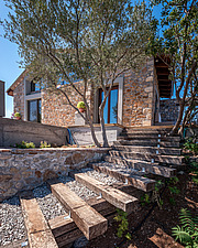 Exterior view of house, veranda and landscaping, Mayia Cottage renovation in Aigialeia Hills Peloponnese Greece  - 16953-100