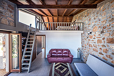 Interior view of living room and attic, Mayia Cottage renovation in Aigialeia Hills Peloponnese Greece  - 16953-170