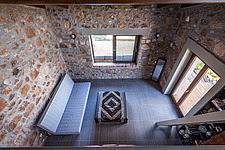 Interior view of living room from attic, Mayia Cottage renovation in Aigialeia Hills Peloponnese Greece  - 16953-180