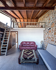 Interior view of living room and attic, Mayia Cottage renovation in Aigialeia Hills Peloponnese Greece  - 16953-190