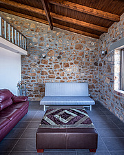 Interior view of living room, Mayia Cottage renovation in Aigialeia Hills Peloponnese Greece  - 16953-200