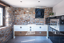 Interior view of kitchen space, Mayia Cottage renovation in Aigialeia Hills Peloponnese Greece  - 16953-220