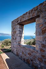 Detail of terrace masonry wall with window view, Mayia Cottage renovation in Aigialeia Hills Peloponnese Greece  - 16953-260