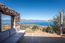 Infinity view from north-east terrace lounge, Mayia Cottage renovation in Aigialeia Hills Peloponnese Greece  - 16953-280