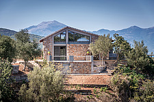Exterior context view of house and surrounding, Mayia Cottage renovation in Aigialeia Hills Peloponnese Greece  - 16953-350