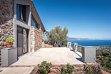Exterior view of south-east facade and veranda view, Mayia Cottage renovation in Aigialeia Hills Peloponnese Greece  - 16953-40