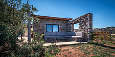 Exterior view of house and terrace from north-east, Mayia Cottage renovation in Aigialeia Hills Peloponnese Greece  - 16953-90