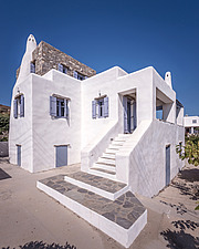 Exterior view of south-west side, holiday house in Paros Island Greece by Nikolas Kouretas - ARC100433