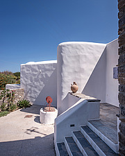 Exterior close up view of northern facade, holiday house in Paros Island Greece by Nikolas Kouretas - ARC100434