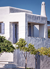 Exterior close up view of southern facade, holiday house in Paros Island Greece by Nikolas Kouretas - ARC100435