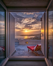 Master bedroom window view overlooking Naousa Bay at sunrise, Villa Elxis in Paros Island Greece by Studio 265 / Vazaios Petropoulos - ARC100843