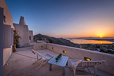 Exterior view from guest house terrace overlooking Naousa Bay at sunrise, Villa Elxis in Paros Island Greece by Studio 265 / Vazaios Petropoulos - ARC100899