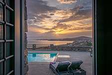 Pool guest room entrance view at sunrise, Villa Elxis in Paros Island Greece by Studio 265 / Vazaios Petropoulos - ARC100913