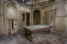 a pool table in an abandoned castle in France - ARC101314