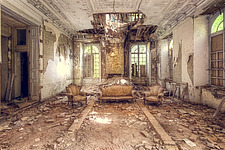 The drawing room in an abandoned villa in Belgium - ARC101332