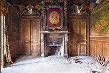 the fireplace in a room in an abandoned castle in France - ARC101339