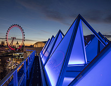The roof of the newly refurbished Hayward Gallery, a world-renowned contemporary art gallery and landmark of Brutalist architecture on London's South... - ARC102045