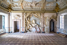 Room in an abandoned castle in Italy, decorated with a detailed horse - ARC102839
