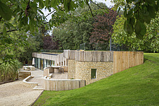 Exterior of Ashbrook House, a contemporary family eco-house in Blewbury, South Oxfordshire, UK - ARC102949