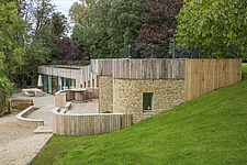 Exterior of Ashbrook House, a contemporary family eco-house in Blewbury, South Oxfordshire, UK - ARC102950