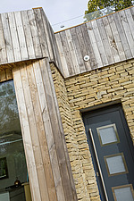 Exterior of Ashbrook House, a contemporary family eco-house in Blewbury, South Oxfordshire, UK - ARC102974