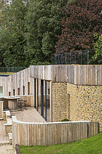 Exterior of Ashbrook House, a contemporary family eco-house in Blewbury, South Oxfordshire, UK - ARC102975