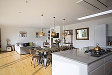 Kitchen diner in Ashbrook House, a contemporary family eco-house in Blewbury, South Oxfordshire, UK - ARC102978