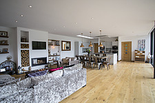 Kitchen diner in Ashbrook House, a contemporary family eco-house in Blewbury, South Oxfordshire, UK - ARC102981